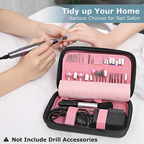 Nail Drill Bits Holder Container, Acrylic Nail Drill Kit Organizer Storage Case, Waterproof Portable Organizer Bag for Efile Accessories (Not Include Drill Bits, ONLY CASE)