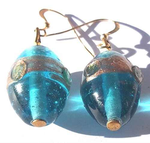 SOLD!! Art Glass Teal Beaded Drop Earrings with Sparkling Aventurine glass