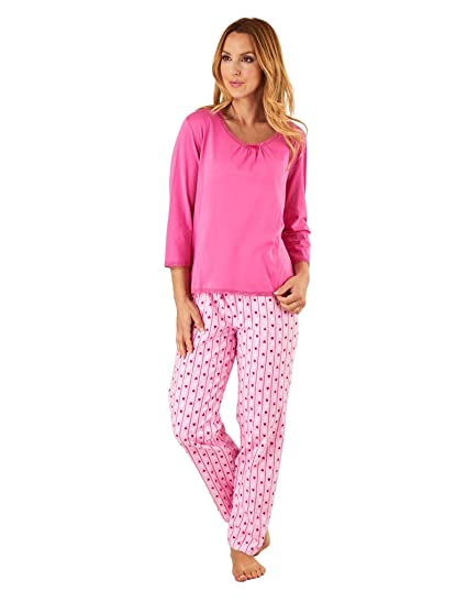 Slenderella PJ8222 Women s Pink Heart Motif Cotton Pajama 3 4 Sleeve Pyjama  Top 10  38e8845580