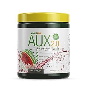 About Time AUX Preworkout Watermelon, 30 Servings - Performance Blend, Energize and Restore Formula, 0 Sugars, 0 Calories, 0 Fat