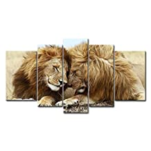 Brown 5 Panel Wall Art Painting Lions Cuddle In The Grassland Pictures Prints On Canvas Animal The Picture Decor Oil For Home Modern Decoration Print