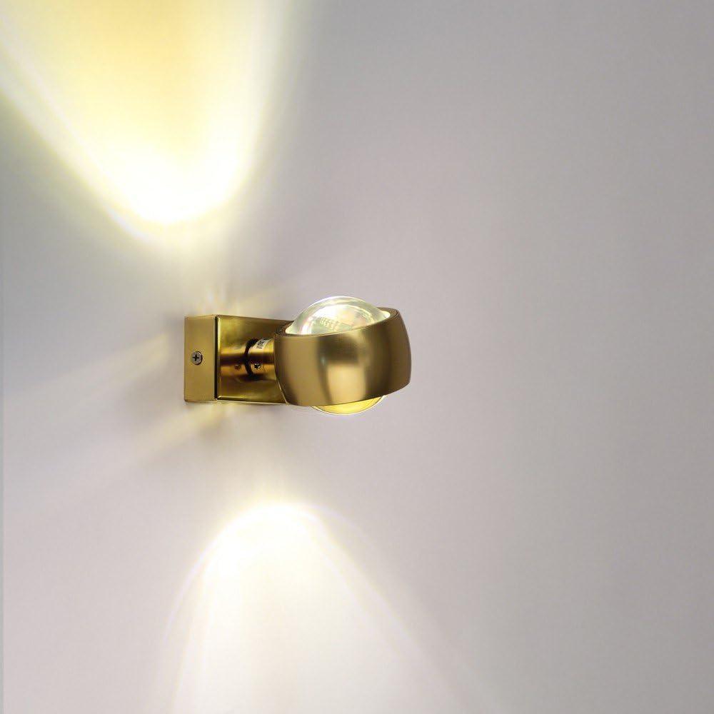 Wandleuchte s.LUCE Beam Up&Down Wandlampe mit Glaslinsen Alu-Gebürstet mit Lichteffekt Schlafzimmerleuchte moderne Effekt-Lampe Flur-Lampe Flur-Leuchte Treppenhaus-Lampe Effektleuchte Gold
