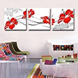 Beautiful Modern Red Flower Black And White Artwork Abstract Floral Oil Paintings on Canvas Wall Art for Home Decorations Wall Decor