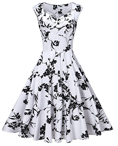 V Fashion Women's 50s Retro Cap Sleeve Party Swing Dress Sleeveless Vintage Tea Dresses,White Floral,Large