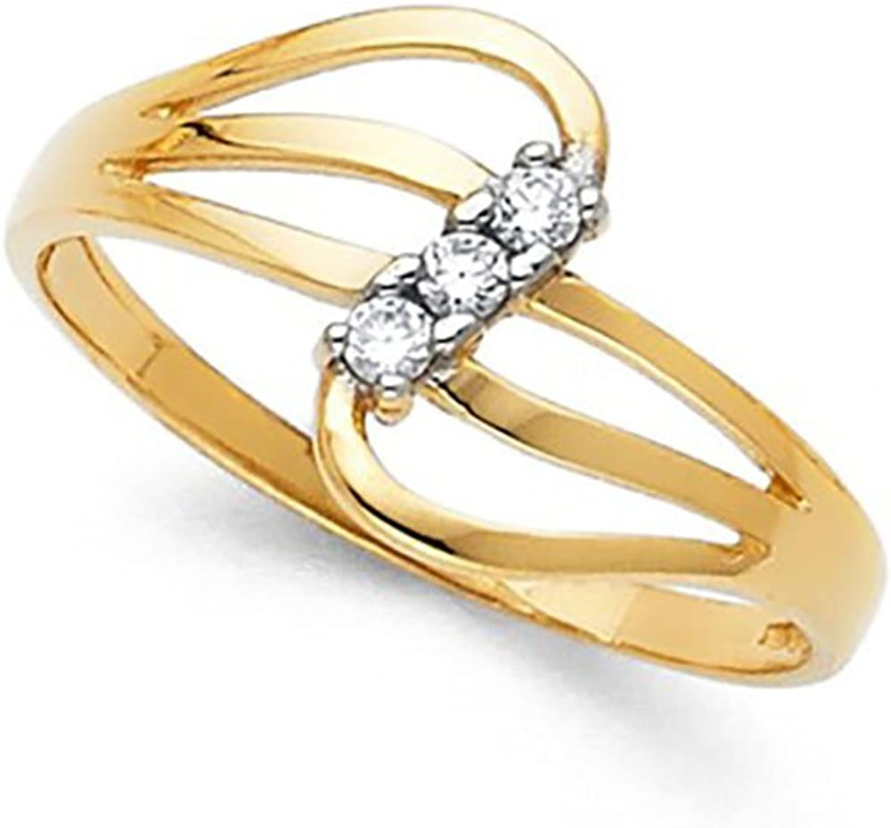 14k Yellow Gold Stacking CZ Ring
