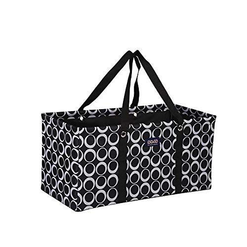 """All Purpose Utility Tote/Utility tote/Large tote/Beach Bag/Reusable Shopping Bags (Black/White Rings-R-009, 22"""")"""