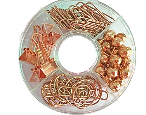 65 PCS Decorative Paper Clips and Set,Multi-Kind Push-Pin Map Tacks Long Tail Clip Paper Clip Pin Clip for School,Home & Office (Rose Gold) ()