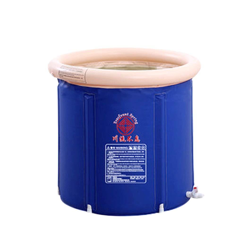 YONGYONG Blue Folding Thickening Household Children Adult Plastic Constant Temperature Bath Barrel Insulation Heating Large tub Inflatable Bath Barrel 65 * 70cm, 75 * 75cm