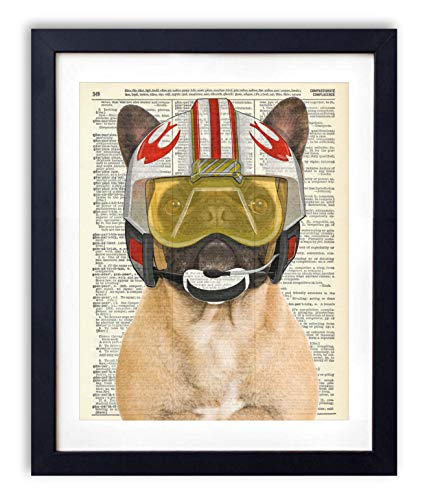 (Rebel Pilot French Bulldog - Star Wars Inspired Kids Bedroom Wall Decor - Vintage Wall Art Upcycled Dictionary Art Print Poster For Kids Room Decor 8x10 inches, Unframed)
