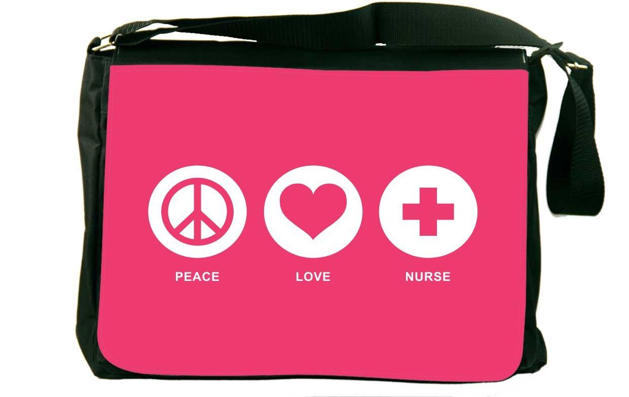 Rikki Knight Peace Love Nurse Tropical Pink Color Design Messenger Bag - Shoulder Bag - School Bag for School or Work