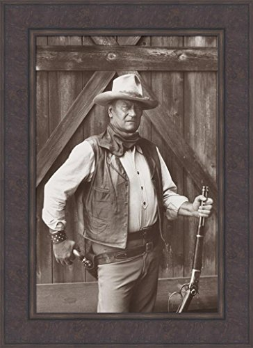 Home Cabin Décor John Wayne The Cowboys by Bob Willoughby 22x30 Movie Wild West Western Sepia Framed Art Print Picture
