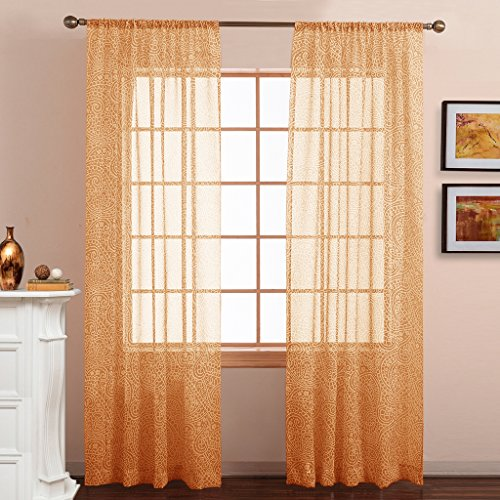 Orange Light Filtering Blinds (NICETOWN Window Treatment Bedroom Sheer Curtains - Home Fashion Paisley Pattern Faux Linen Voile Drapes/Draperies for Hall/Villa by (Sunflower, 2 Panels, W50 x L84))