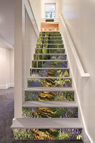 Cottage Staffordshire (Woodland Decor 3D Stair Riser Stickers Removable Wall Murals Stickers,A Carpet of Bluebells Spreads through the Woodland in Staffordshire England,for Home Decor 39.3