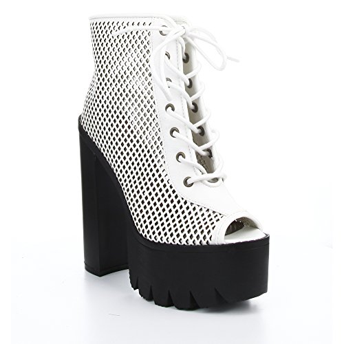 Cape Robbin Rocker13 Femmes Peep Toe Chunky Talon Lacer Up Bottines De La Plate-forme, Couleur: Blanc
