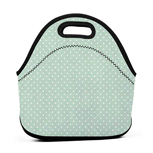 (Rugged Lunchbox Green,Retro Style Baby Nursery Themed Pattern with Little White Polka Dots Pastel, Mint Green White,matching bookbag and lunch bag for boys)