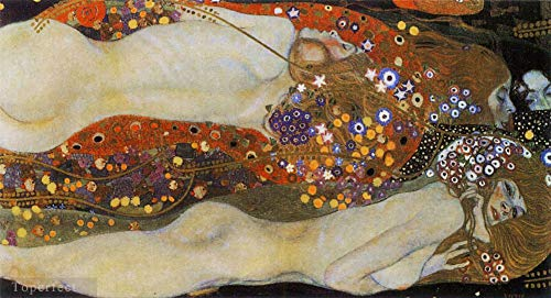 ($50-$4000 Hand Painted Art Paintings by College Teachers - Water Snakes Gustav Klimt Water Serpents II Oil Painting Reproduction - Wall Decor Canvas Old Famous Works -Size07)