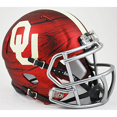 Wood Helmet (Oklahoma Sooners Bring The Wood Hydro Red NCAA Mini Speed Football Helmet)