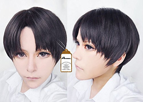 Free-Hair-Cap-Attack-on-Titan-Black-Levi-Rivaille-Cosplay-Wig