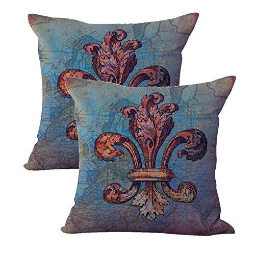 set of 2 fleur-de-lis royal French lily cushion cover decorate pillows (De Cushions Chair Fleur Lis)