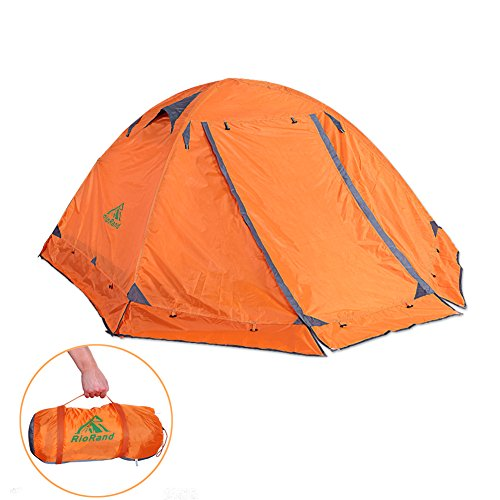 RioRand Double Layer 2 Person 4 Season Aluminum Rod Outdoor Camping Tent (Orange)