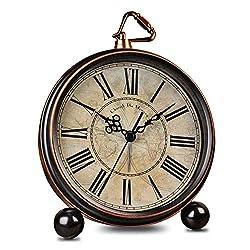 HeQiao 5.5 Silent Vintage Metal Desk Analog Alarm Clock for Home Office (Bronze)