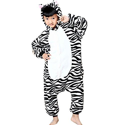 JT-Amigo Kids Unisex Cosplay Pajamas Onesie Zebra Costume, 9-11 Years (Amigo Costume)