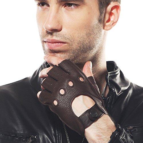 ELMA Men's Deerskin Leather Fingerless Half Finger Driving Unlined Gloves (S, Brown)
