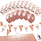 Monka Rose Gold Party Decoration Set with Sequin Table Runner, Foil Confetti Balloon, Latex Balloon and Foil Triangle Flags Bunting. Rose Gold Luxurious Decor for Wedding, Showers, Events, Birthday Party
