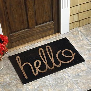 """Hello Vinyl Backed Coir Door Mat (18""""x30"""")"""