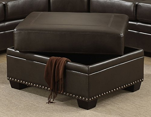 AC Pacific Louis Collection Traditional Upholstered Leather Storage Ottoman with Antique Brass Nail Head Trim, ()