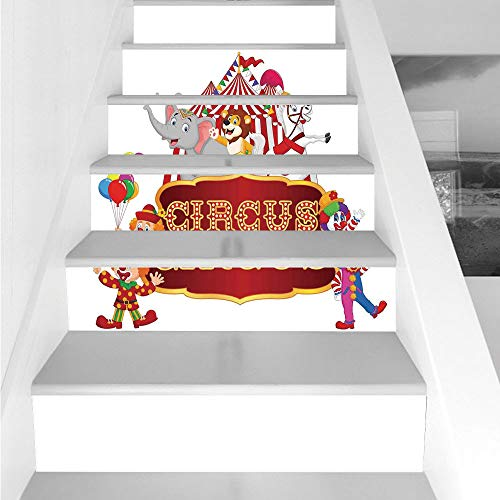 Stair Stickers Wall Stickers,6 PCS Self-Adhesive,Circus Decor,Cute Happy Fun Trained Circus Animals with Nostalgic Tent Carnival Party Show Art,Red White,Stair Riser Decal for Living Room, Hall, -