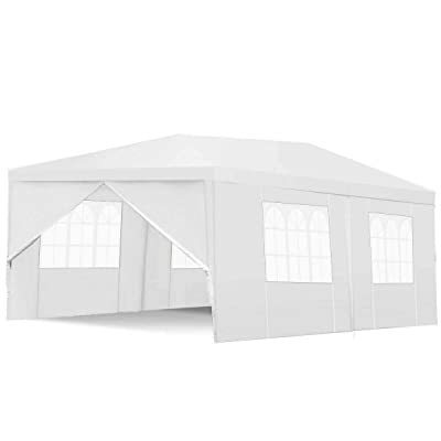 AyaMastro 10x20 feet Outdoor Gazebo Canopy Tent White Patio Shelter Sun Shade Wedding Party with 4 Removeable Sidewalls with Ebook : Garden & Outdoor