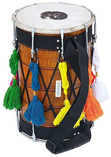 DHOL|JUNIOR PUNJABI DHOL|SAI|NATURAL MANGO WOOD|PRO|SYNT-GOATSKIN HEADS by SAI MUSICAL