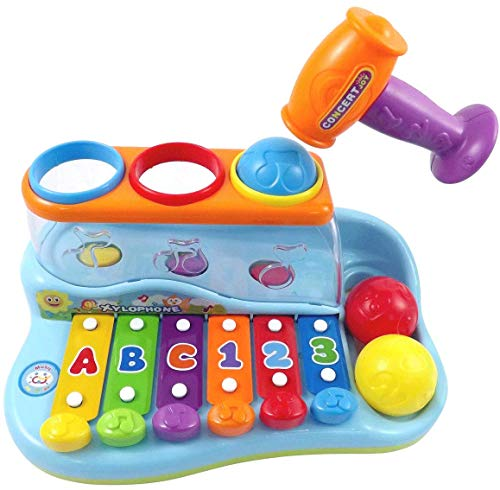 - PowerTRC Rainbow Xylophone - Pounding Bench for Kids with Balls and Hammer