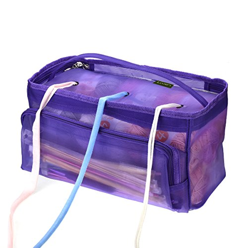 Upgraded Knitting Bag,Yarn Tote Organizer Case Storage Mesh with Zipper Closure for Carrying Knitting Needles Crochet Hooks and Sewing Accessories Holder Large Size High Capacity Looen (Purple) by LOOEN