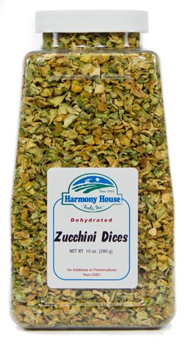 Harmony House Foods, Dried Zucchini, Diced, 7 Ounce Quart Size Jar