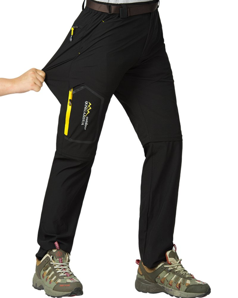 Women's Outdoor Stretch Quick Dry Cargo Pants Convertible Hiking Camping Fishing Zip Off Trousers #5818, Black, US M 34