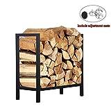Ucared Firewood Rack Log Rack 24 Inch Indoor/Outdoor Fire Wood Storage Black Steel Firewood Log Holder