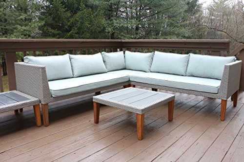Oliver Smith Large 5 Pc Modern Rattan Wiker Sectional