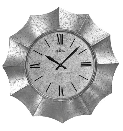 Bulova Nouveau 30-in. Wall Clock - Scalloped molded case Hand-applied crackled silver foil on case and dial Roman numerals printed on glass - wall-clocks, living-room-decor, living-room - 51b5X7%2BWCsL -