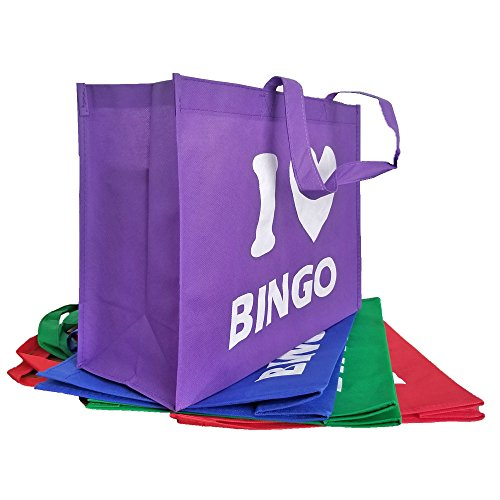 I Love Bingo Tote Bag - 4 Pack - Blue/Green/Purple/Red -