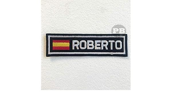 Parche bordado con la bandera de España con la insignia Roberto ...