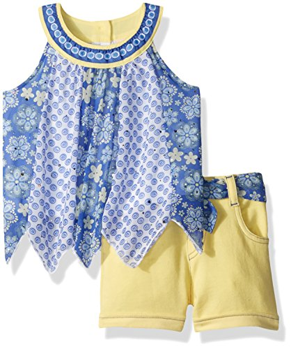 French Terry Short Set (Little Lass Baby Girls' 2pc French Terry Short Set, Yellow, 18M)