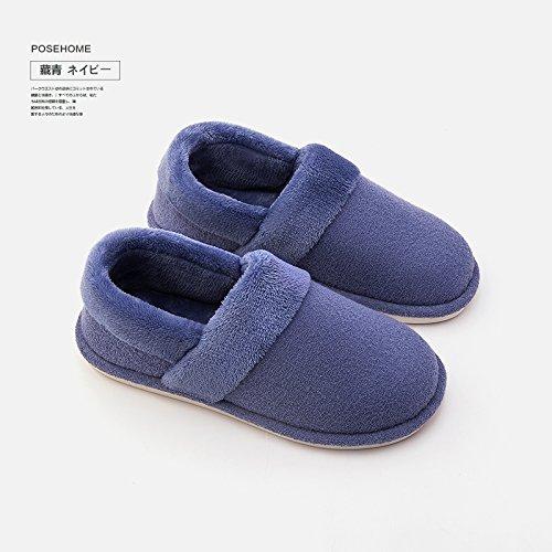 Cotton Chaussures Slipper LaxBa Femmes Une intérieur Chaussons Hommes peluche de chauds marine section d'hiver Padded antiglisse ParSq8
