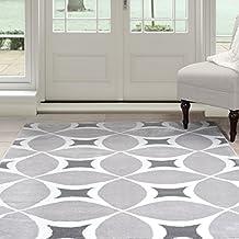 Lavish Home Geometric Area Rug, 5-Feet by 7-Feet 7-Inch, Grey/White