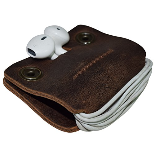 Price comparison product image Rustic Leather Cord Keeper (Cord Clam) Cord Snap Wrap Headphone Wrap Tangle Free Cord Sandwich Handmade by Hide & Drink :: Bourbon Brown