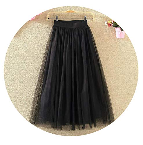 - 2019 Vintage Skirts Womens Elastic High Waist Tulle Mesh Skirt Long Pleated Tutu Skirt Female Longue,Black,XS