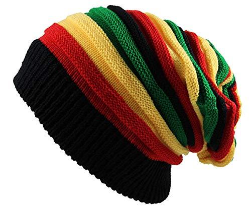 Hats Rasta Jamaican - Qhome Fashion Bob Marley Jamaican Reggae Cap Multi-colour Striped Rasta Hat Slouchy Baggie Beanie Skullies Gorro Rasta Women