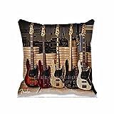 DECORLUTION Cotton Throw Pillow Case Fender Guitar Bass Cushion Cover music Pillowcases 18x18 Inches