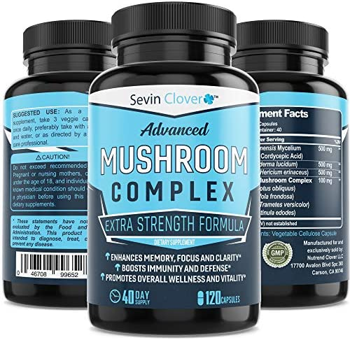 Mushroom Supplement Lions Mane Cordyceps – Organic Comprehensive Support for a Robust and Resilient Immune System Mushroom Nootropic Brain Booster Complex for Energy and Focus – 120 Capsules 1600mg